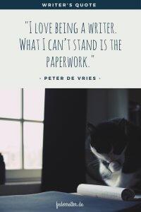 Katze Notizen Fenster Zitat Peter de Vries Schreibgruppe Federreiter