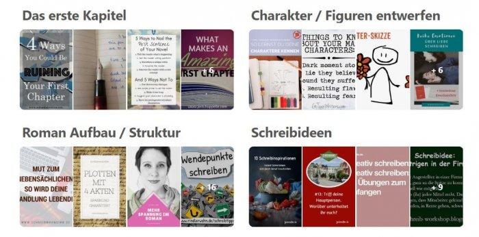 Pinnwand mit Schreibtipps auf Pinterest von Ellas Schreibwelt