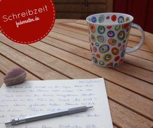 Kaffeetasse und der Anfang einer Kurzgeschichte Federreiter Schreibgruppe Elmshorn